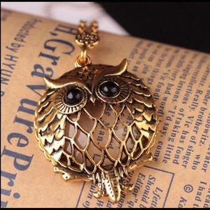 Jewelry - Antique Gold Chain Cute Owl Magnifying Glass